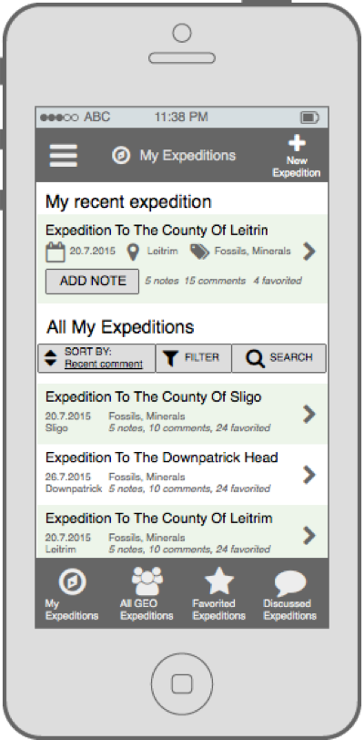 Wireframes - Expeditions Initial Dashboard
